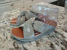 NWOB Fit Flop Twiss Crystal Slide Wedge Sandal Silver MSRP $98 US 7           B7