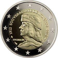 Monaco 2 Euro 2012 Lucian I Grimaldi 1512 Souveränität Polierte Platte im Etui