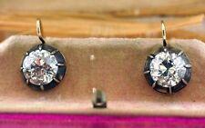4.5 carat Antique Deco Gold, brilliant  Old European Round  Diamond Earrings