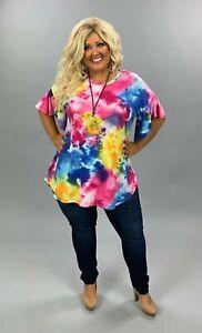PSS-A {Candy Daze} Rainbow Color Tie Dye Tunic Ruffle Sleeve PLUS SIZE 1X 2X 3X