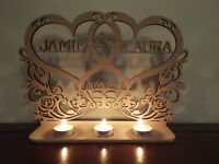 Personalised Tea light holder 2 names date, engagement, anniversary wedding sign