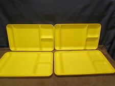 Set of 4 Tupperware Yellow Divided Cafeteria Meal Serving Lap Trays #1535