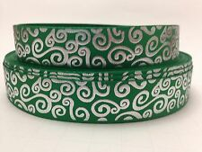 "7/8"" Green and Silver Swirls 4 yards Grosgrain Ribbon"