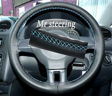 FOR MERCEDES E CLASS 95-99 ITALIAN LEATHER STEERING WHEEL COVER BLUE STITCH