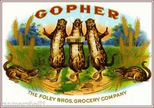 1905 Gopher Rodent Smoke Vintage Cigar Tobacco Box Crate Label Print