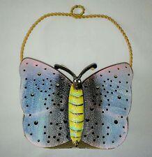 "Metal Tin Butterfly Hanging Basket Bucket Garden Decoration Pink Blue GUC 7⅜"""