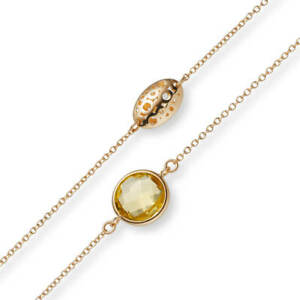 1mm round Anchor Chain Necklace With Citrine 750 Gold Rose Gold 110cm
