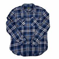 Eddie Bauer Mens Blue Plaid Flannel Shirt  Long Sleeve Button Front Warm XL