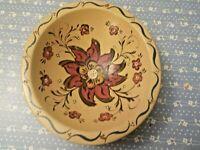 AntiqueWooden Bowl Hand Painted Flowers Poinsetta Scandinavian