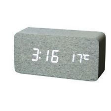 Wooden Style White LED Alarm Clock Sound Control Temperature Calendar Silver