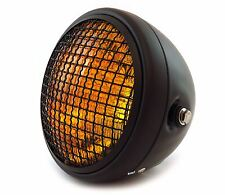 "7"" Custom Side Mount Motorcycle Headlight w/ Grill - Matte Black - Amber"