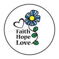 "48 FAITH FLOWER ENVELOPE SEALS LABELS STICKERS PARTY FAVORS 1.2/"" ROUND"