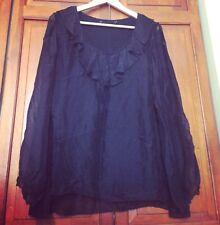 Gorgeous Black 100% Silk Ruffle Sheer Sleeve Top - XL