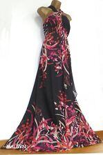 MONSOON ✩ STUNNING TIGERLILY PINK ORANGE & BLACK SILK MAXI EVENING DRESS ✩ UK 18