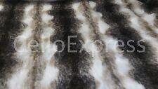 Striped Faux Fake Luxury Fur Fabric 25mm Pile Teddy Bear & Animal Toy Craft