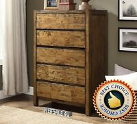 Solid Wood Bedroom Dresser Furniture 5 Drawer Chest Nightstand Dressers Storage