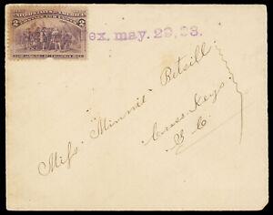 """""""Melissa, Tex. May. 29. 98."""" purple straightline 2¢ Columbian #231 to Cross Keys"""