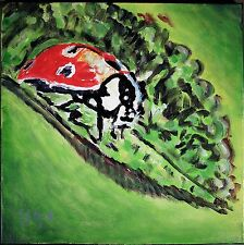 Modernist Pop Abstract Canvas Wall Art Expressionist Painting Lady Bug Foltz
