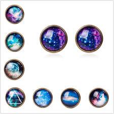 Mode Halskette Sternenhimmel und Mond Zeit Edelsteine Vintage Ohrringe CN