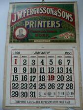 Vintage Original Tobacco Advertising Calendar, J.W. Fergusson & Sons, 1950, Fine