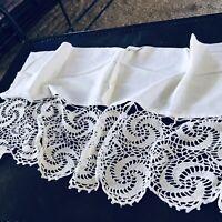 """Antique Deep Crochet Lace Flounce Valance 100"""""""