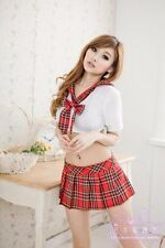 Size S New Sexy Woman Student Cosplay Red Mini Skirt Costume Imitate Set- CO038