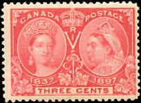 1897 Mint NH Canada F+ Scott #53 3c Diamond Jubilee Issue Stamp