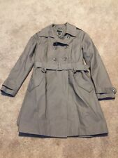 Womens H&M taupe Brown Long Trench Coat Jacket Belted Lined Size 10