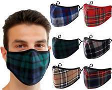 Face Mask Tartan Cotton Washable Reusable Filter & Nose Wire  Adults Kids UK