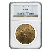 1892 S $20 Liberty Head Double Eagle Gold Coin NGC MS 63