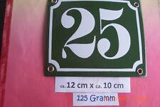 Hausnummer Nr.25 weiße Zahl auf gras - grünem Hintergrund 12 cm x 10 cm Emaille