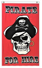 3x5 Jolly Roger Pirate Pirates For Hire Red Flag 3'x5' Banner