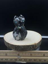 Zuni Fetish/Zebra Marble Cat/Robert wheakee/Zuni fetish carving X15