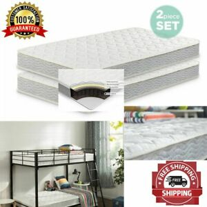 Mattress Spring Twin Set Of 2 Bed Bunk 6 Inch Bio Foam White Active Charcoal