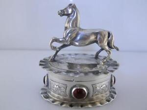 800 Silver Trinket Box w/ figural horse & jeweled WEINRANCK & SCHMIDT Hanau