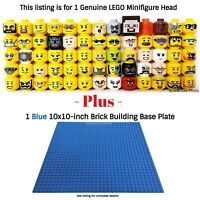 1 LEGO Minifigure Head PLUS 1 Blue 10x10-inch 32x32-stud compatible base plate
