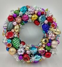 Christmas Ornament Wreath Red Gold Silver Sparkle Shiny Holiday Door Wall Decor