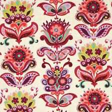 By 1/2 Yard ~ Amy Butler Cotton Fabric ~ Bright Heart Folk Bloom in Natural