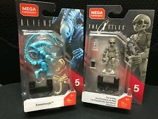 Mega Construx Heroes Series 5 Aliens Blue Xenomorph &THE X FILES GDB13&14 New