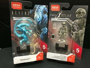 Mega Construx Heroes Series 5 Aliens Blue Xenomorph &THE X FILES GDB13&14 New