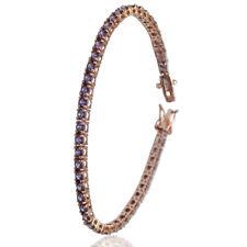 Bracciale tennis mm 3 in argento 925 placcato oro rosa con zirconi viola cm 19