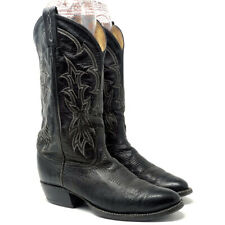 "Tony Lama Men's Cowboy Boots Size 8 Tall Top Classic Black 1.5"" Heel"