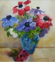 Matted Original Watercolor Painting - Still Life Flowers In Blue Vase