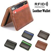 RFID Blocking Magic Flip Leather Wallet Slim Credit Card Holder Money Clip Purse
