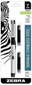 48111 Zebra V-301 Stainless Steel Fountain Pen w/ Bonus Refill, Black, Pack of 1