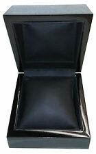 Watch Presentation Box Black Wood Finish with Faux Leather Interior and Pillow