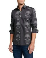 Maceoo Mens Luxor Skull Black Dot Print Cotton La Muerte Goth Shirt NWT Sz S