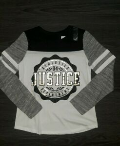 Girls justice colorblock football tee  size 6 new black