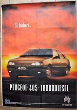 MANIFESTO PUBBLICITARIO ORIGINALE PEUGEOT 405 TURBO DIESEL ANNI 80