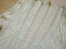 Ralph Lauren Gr L Strickjacke Cardigan naturweiss Musterstrick Knit Landhaus